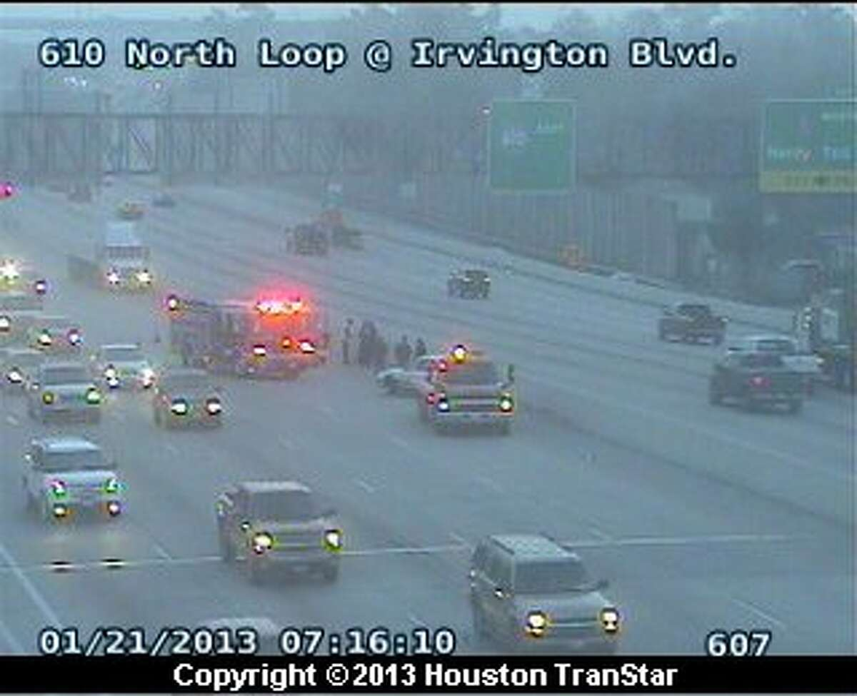 Traffic was snarled on the North Loop near Irvington after a crash Monday morning.