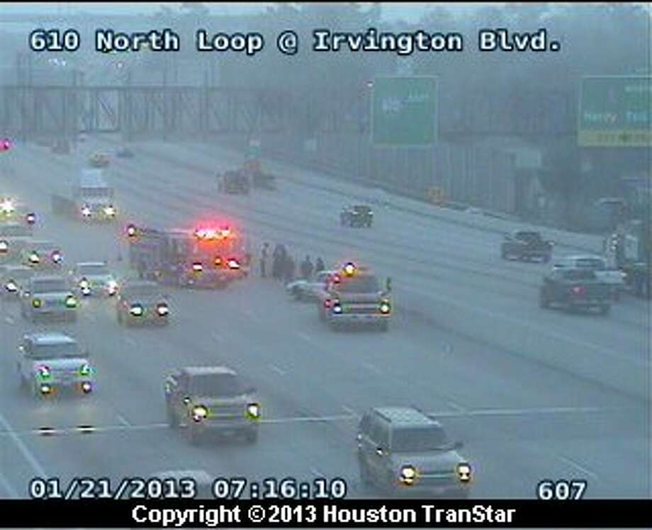 Traffic was snarled on the North Loop near Irvington after a crash Monday morning. Photo: Houston Transtar