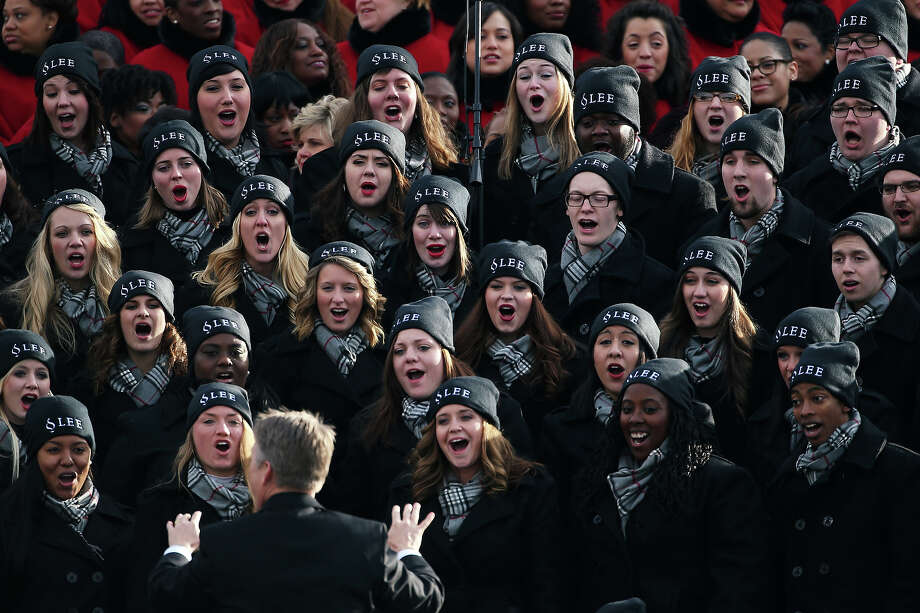 WASHINGTON, DC - JANUARY 21:  Lee University Choir from Cleveland, TN performs in the bleachers during the presidential inauguration on the West Front of the U.S. Capitol January 21, 2013 in Washington, DC.   Barack Obama was re-elected for a second term as President of the United States. Photo: Justin Sullivan, Getty Images / 2013 Getty Images