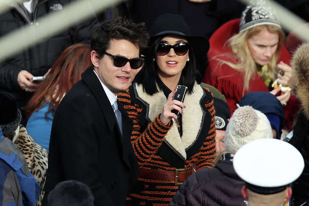 WASHINGTON, DC - JANUARY 21:  Musicians John Mayer and Katy Perry attend the presidential inauguration on the West Front of the U.S. Capitol January 21, 2013 in Washington, DC.   Barack Obama was re-elected for a second term as President of the United States. Photo: Alex Wong, Getty Images / 2013 Getty Images