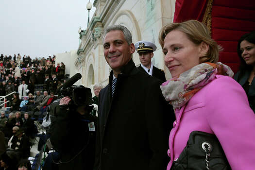 WASHINGTON, DC - JANUARY 21: Chicago Mayor Rahm Emanuel and wife Amy Rule arrive before the presidential inauguration on the West Front of the U.S. Capitol January 21, 2013 in Washington, DC.   Barack Obama was re-elected for a second term as President of the United States. Photo: Win McNamee, Getty Images / 2013 Getty Images
