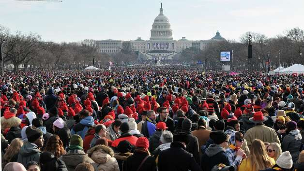 People attend the 57th Presidential Inauguration on January 21, 2013. US President Barack Obama will be sworn in for a second term. Photo: MLADEN ANTONOV, AFP/Getty Images / AFP
