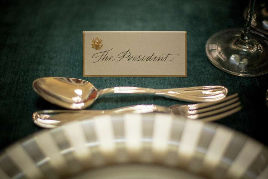 The place card for U.S. President Barack Obama sits ready for the Inaugural Luncheon in Statuary Hal
