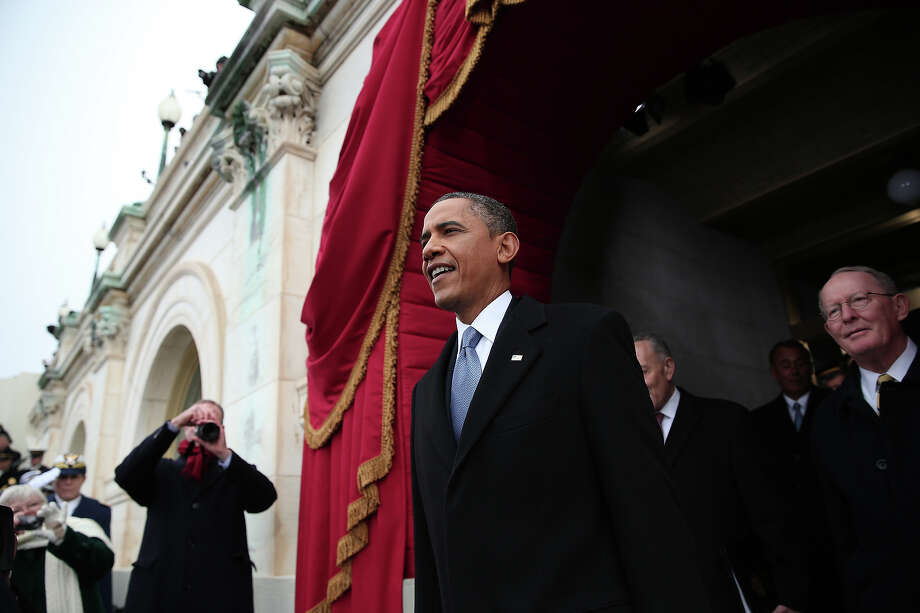 WASHINGTON, DC - JANUARY 21:  U.S. President Barack Obama arrives during the presidential inauguration on the West Front of the U.S. Capitol January 21, 2013 in Washington, DC.   Barack Obama was re-elected for a second term as President of the United States. Photo: Win McNamee, Getty Images / 2013 Getty Images