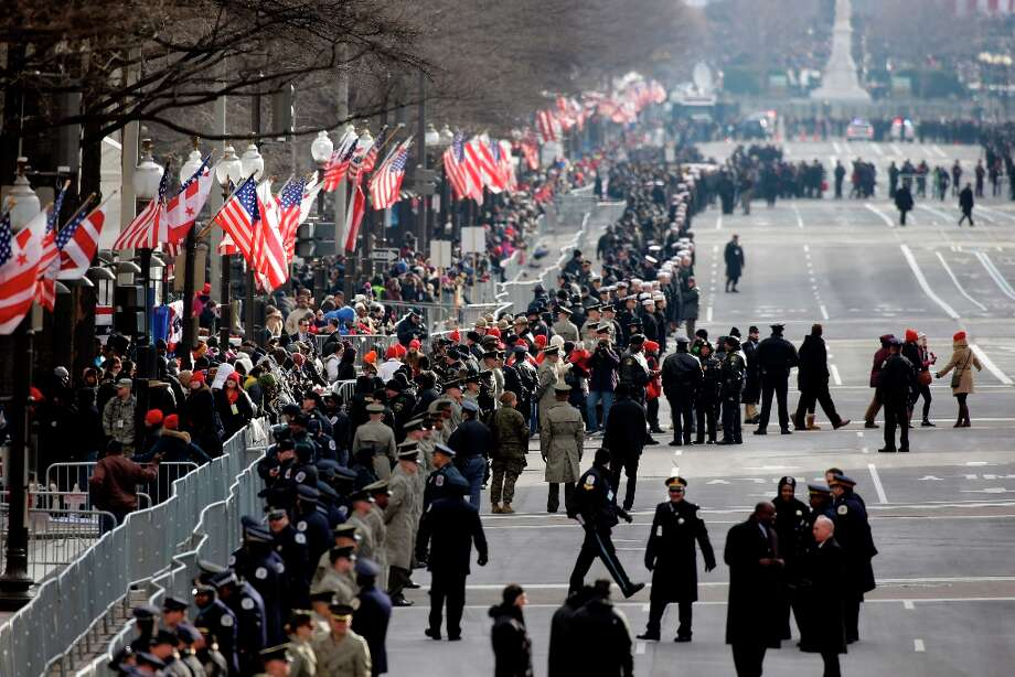 Security lines Pennsylvania Avenue in Washington, Monday, Jan. 21, 2013, prior to the start of the 57th Presidential Inaugural Parade which will take place following President Barack Obama's ceremonial swearing-in on Capitol Hill. Photo: Alex Brandon, Associated Press / AP
