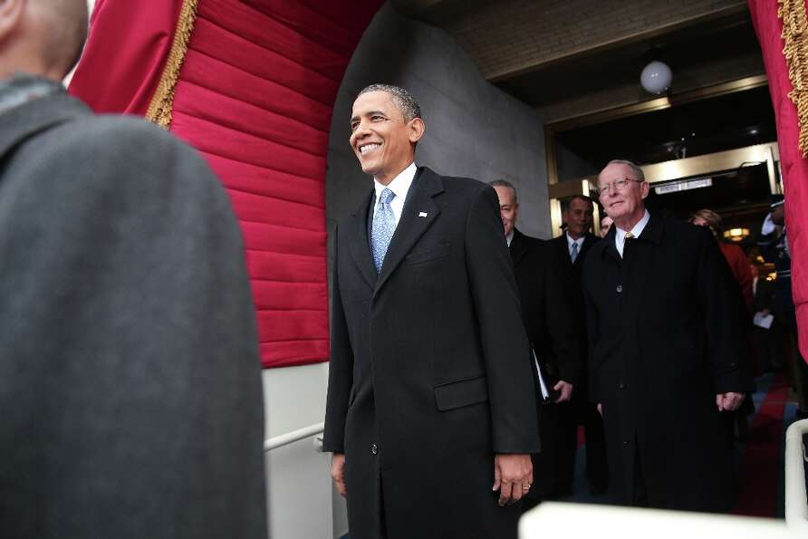 U.S. President Barack Obama arrives during the presidential inauguration on the West Front of the U.