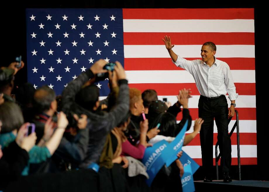 President Barack Obama waves to supporters as he is introduced during a campaign event at Delta Center, Saturday, Nov. 3, 2012, in Milwaukee, Wis. Photo: Pablo Martinez Monsivais, ASSOCIATED PRESS / AP2012