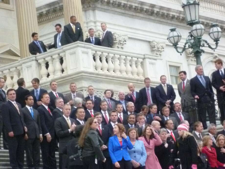 House freshmen congregate on the steps of the Capitol in order to take the freshmen photo.