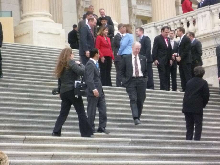 Joaquin Castro on the steps of the Capitol after the House freshmen posed for their official photo on Nov. 15.