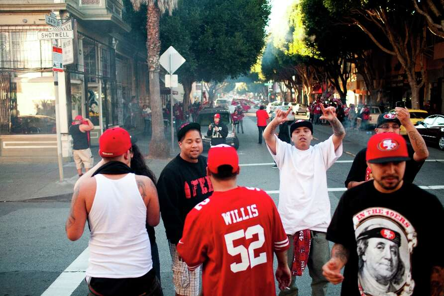 Niner's fans celebrated along 24th Street after the San Francisco 49er's beat the Atlanta Falcons in
