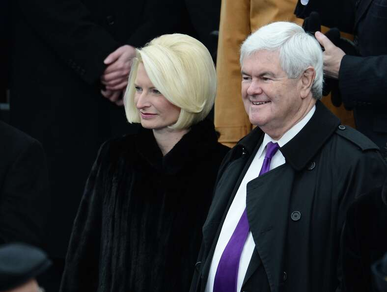 Former Republican Presidential candidate Newt Gingrich and his wife Callista arrive for the 57th Pre