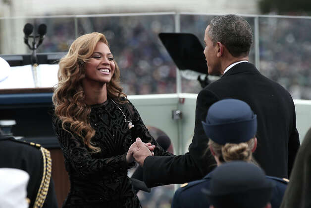 WASHINGTON, DC - JANUARY 21:  U.S. President Barack Obama greets singer Beyonce after she performs the National Anthem during the public ceremonial inauguration on the West Front of the U.S. Capitol January 21, 2013 in Washington, DC.   Barack Obama was re-elected for a second term as President of the United States. Photo: Win McNamee, Getty Images / 2013 Getty Images