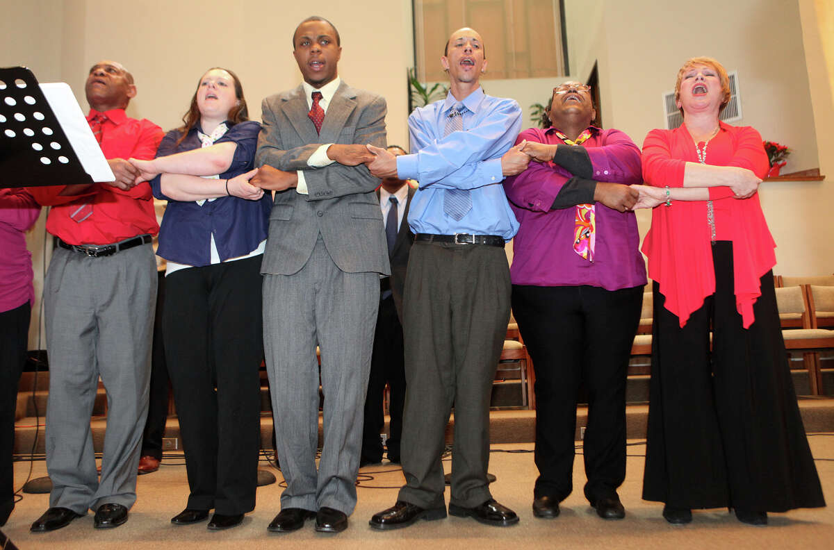 Members of the Voices of Recovery Liberation Program, in Stamford, sing at Bridgeport Black Pride's Dr. Martin Luther King Jr. celebration at Mt. Aery Baptist Church in Bridgeport, Conn. on Monday, January 21, 2013.