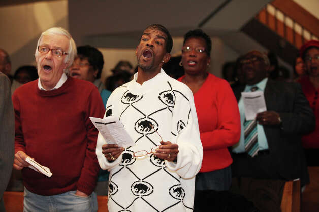 Former State Senator Ernie Newton, right,  sings at the Bridgeport Black Pride's Dr. Martin Luther King Jr. celebration at Mt. Aery Baptist Church in Bridgeport, Conn. on Monday, January 21, 2013. Photo: BK Angeletti, B.K. Angeletti / Connecticut Post freelance B.K. Angeletti