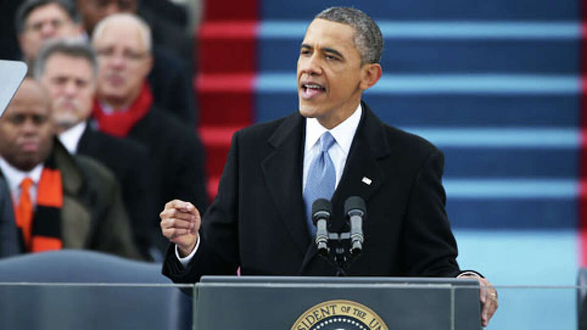 WASHINGTON, DC - JANUARY 21: U.S. President Barack Obama gives his inauguration address during the public ceremonial inauguration on the West Front of the U.S. Capitol January 21, 2013 in Washington, DC. Barack Obama was re-elected for a second term as President of the United States.