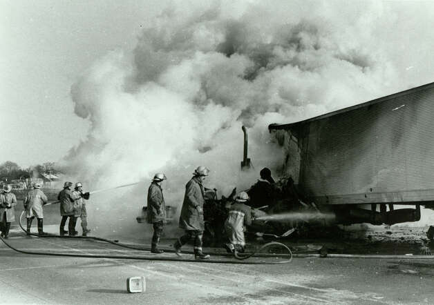Jan. 19th, 1983 - The scene of a fatal accident at Connecticut Turnpike, I-95, toll in Stratford, Conn. Seven people were killed when the driver of a tractor trailor failed to slow down and slammed into a line of cars waiting in the exact charge lane. The toll and other in the state were dismantled in 1985. Photo: Frank W. Decerbo/File Photo
