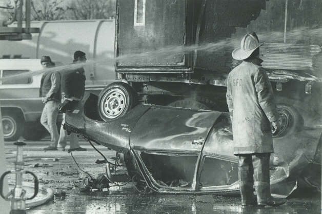 Jan. 19th, 1983 - The scene of a fatal accident at Connecticut Turnpike, I-95, toll in Stratford, Conn. Seven people were killed when the driver of a tractor trailor failed to slow down and slammed into a line of cars waiting in the exact charge lane. The toll and other in the state were dismantled in 1985. Photo: Viorel Florescu/File Photo
