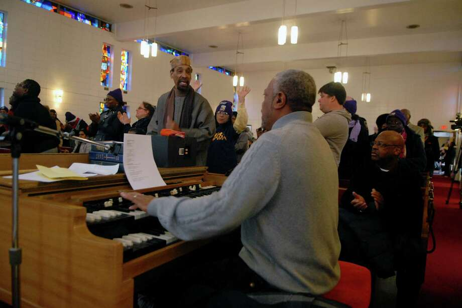 Martin Luther King Jr. rally at Bethel A.M.E. Church before march and celebration following the march at the Yerwood Center in Stamford, Conn. on Monday january 21, 2013. Photo: Dru Nadler / Stamford Advocate Freelance