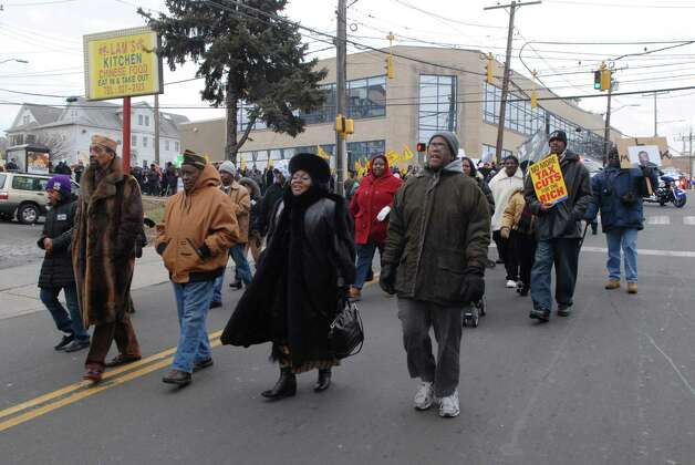 Participants in the Martin Luther King Jr. Day march walk down Richmond Hill Ave in Stamford, Conn. on Monday January 21, 2013. Photo: Dru Nadler / Stamford Advocate Freelance