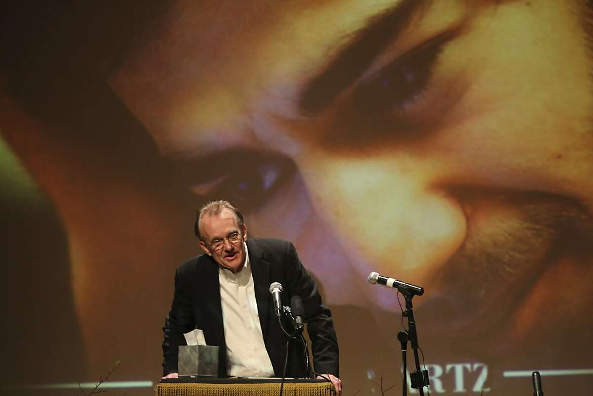 Edward Tufte, professor emeritus of political science, statistics, and computer science at Yale University speaks during the memorial service for Aaron Swartz, Saturday, Jan. 19, 2013 in New York. Friends and supporters of Aaron Swartz paid tribute Saturday to the free-information activist and online prodigy, who killed himself last week as he faced trial on hacking charges. (AP Photo/Mary Altaffer)