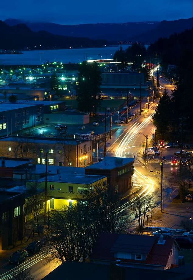 Traffic makes its way along Glacier Highway and Egan Drive in Juneau, Alaska, in this slow shutter-speed shot. Photo: Michael Penn, Associated Press
