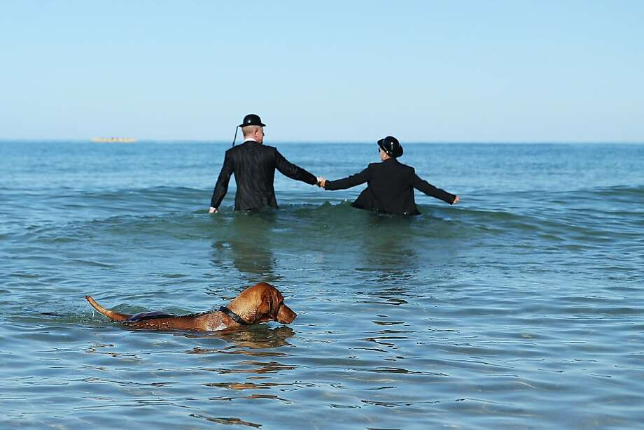 Surreal killer: A doggy-paddler disrupts an art installation by surrealist Andrew Baine featuring two gentlemen in bowler hats wading into the surf in Adelaide, Australia. Photo: Morne De Klerk, Getty Images