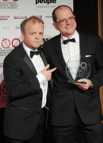 Toby Jones and Stevie Heywood pose in the press room at the London Critics' Circle Film Awards at The Mayfair Hotel on January 20, 2013 in London, England. Photo: Stuart Wilson, Getty Images / 2013 Getty Images