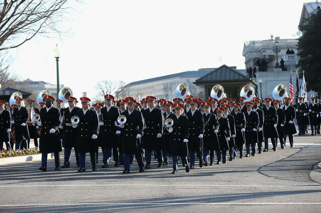 A band prepares to lead President Barack Obama's inaugural parade on Capitol Hill in Washington, Monday, Jan. 21, 2013, after the president's ceremonial swearing-in ceremony during the 57th Presidential Inauguration. Photo: Doug Mills, AP / Pool New York Times