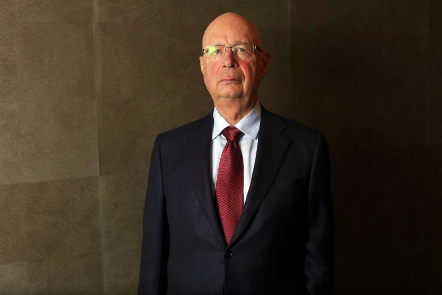 Klaus Schwab, chairman of the World Economic Forum (WEF), poses for a photograph following a Bloombe