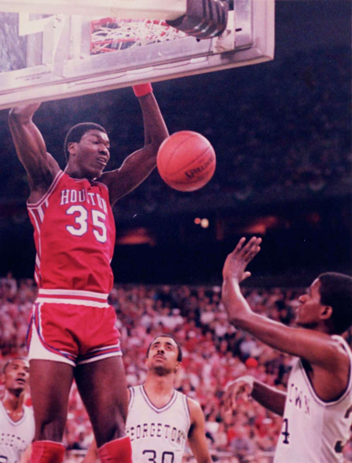 Final Four Appearances: 5 (1967, 1968, 1982, 1983, 1984) National Championships: None. The Cougars made it to the Final Four five times under the leadership of legendary coach Guy Lewis. In the early 1980s, the Phi Slama Jama teams under Lewis were known for their fast-paced, above-the-rim style basketball. The team, featuring Hakeem Olajuwon (35) and Clyde Drexler, made it to the Final Four each year from 1982-1984 (Drexler left after the 1983 season.) The team was never able to bring home the title, though, losing to North Carolina in 1982, NC State in 1983 and Patrick Ewing-led Georgetown in 1984. While UH has never brought home the championship, their success under Lewis has made them a household name among college basketball greats.