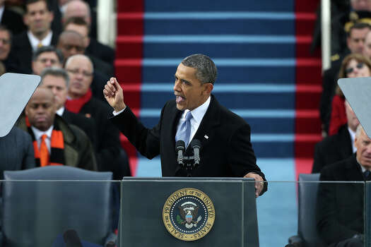 WASHINGTON, DC - JANUARY 21:  U.S. President Barack Obama speaks during the public ceremonial inauguration on the West Front of the U.S. Capitol January 21, 2013 in Washington, DC.   Barack Obama was re-elected for a second term as President of the United States. Photo: Justin Sullivan, Getty Images / 2013 Getty Images