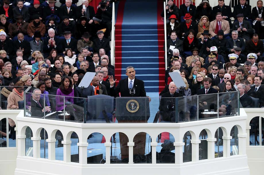 WASHINGTON, DC - JANUARY 21:  U.S. President Barack Obama gives his inauguration address during the public ceremonial inauguration on the West Front of the U.S. Capitol January 21, 2013 in Washington, DC.   Barack Obama was re-elected for a second term as President of the United States. Photo: Justin Sullivan, Getty Images / 2013 Getty Images