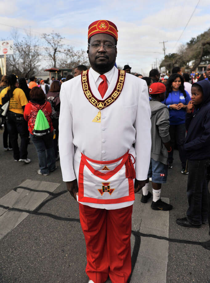 Clary (cq) Glover, a Royal Arch Mason with Shiloh Chapter 16, poses for a picture prior tot he start of the MLK March Monday. Photo: Robin Jerstad