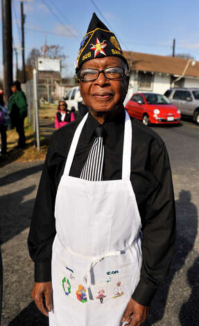 George McFerren of the Fred Brock american Legion Post 828, poses for a picture during the MLK March Monday. Photo: Robin Jerstad
