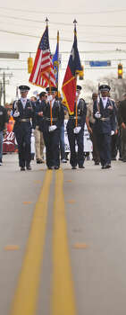 Members of the Judson High School ROTC carried the colors for the annual MLK March along Martin Luther King Dr. Photo: Robin Jerstad