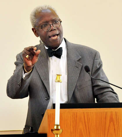 George Coleman speaks at New Hope Baptist Church's 11th annual celebration honoring Dr. Martin Luther King Jr. Monday, Jan. 21, 2013 in Danbury. Photo: Michael Duffy / The News-Times