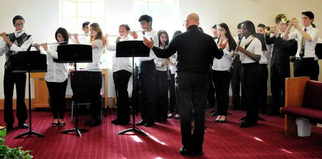 The Danbury High School Band performs at New Hope Baptist Church's 11th annual celebration honoring Dr. Martin Luther King Jr. Monday, Jan. 21, 2013 in Danbury. Photo: Michael Duffy / The News-Times