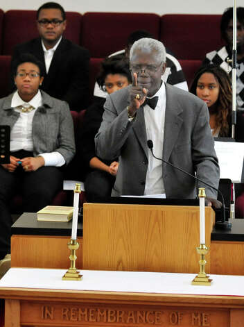 George Coleman speaks at New Hope Baptist Church's 11th annual celebration honoring Dr. Martin Luther King Jr. Monday, Jan. 21, 2013 in Danbury. Photo: Michael Duffy