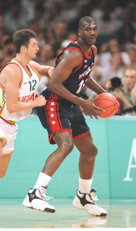 It took an appeal to the international basketball federation, but Hakeem finally was able to live a lifelong Olympic dream in 1996, winning a gold medal with Team USA in Atlanta. Photo: Smiley N. Pool, Houston Chronicle / Houston Chronicle