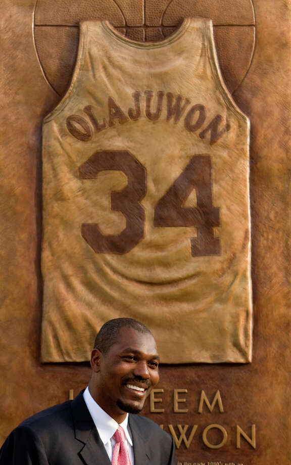In April of 2008, the Rockets unveiled a monument to Hakeem, displaying his famed No. 34 jersey. Photo: Brett Coomer, Houston Chronicle / Houston Chronicle