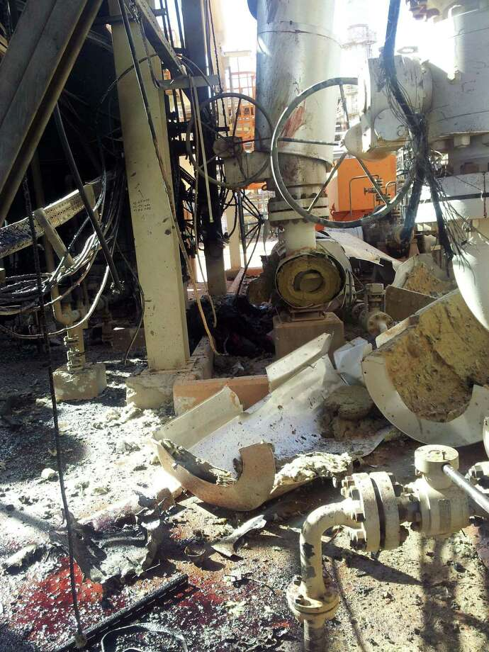 This recent but undated view made available Monday Jan. 21, 2013, showing the damaged natural gas plant after Islamist militants attacked it and took hostages at Ain Amenas, Algeria.  The militants were wearing Algerian army uniforms and were equipped with explosives to blow up the plant, according to Algeria's Prime Minister Abdelmalek Sellal, who said Monday that at least 81 people died in the four-day operation by government forces to liberate the hostages, including 32 Islamist militants. Five foreigners are still reported as missing. (AP Photo) Photo: Associated Press / AP