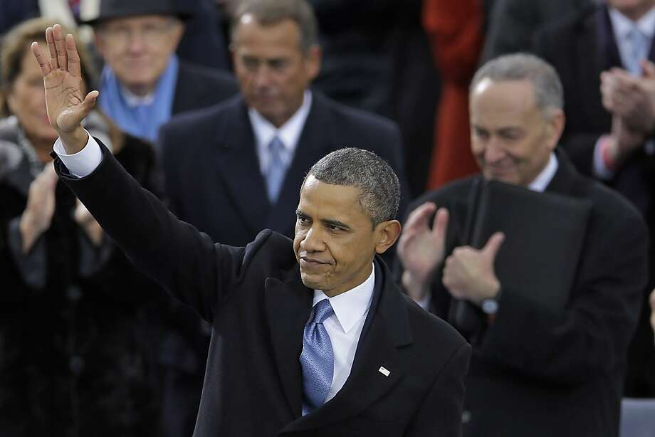 President Obama  waves to the crowd after his speech. Photo: Carolyn Kaster, Associated Press