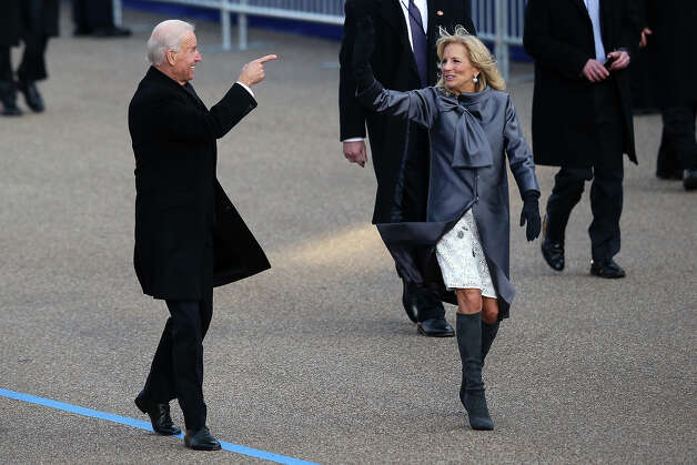 WASHINGTON, DC - JANUARY 21:  U.S. Vice President Joe Biden and Dr. Jill Biden walk the route as the presidential inaugural parade winds through the nation's capital January 21, 2013 in Washington, DC. Barack Obama was re-elected for a second term as President of the United States. Photo: Mark Wilson, Getty Images / 2013 Getty Images