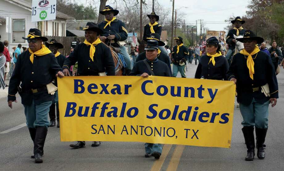 Members of the Bexar County Buffalo Soldiers were one of many groups to participate in San Antonio's Annual  Martin Luther King Jr. Commemorative March, Jan. 21, 2013. Photo: Steve Faulisi, San Antonio Express-News / ©2013 San Antonio Express-News