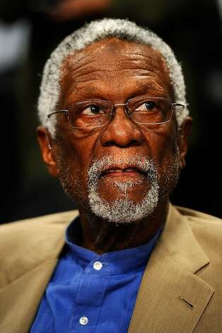 LOS ANGELES, CA - FEBRUARY 19:  NBA legend Bill Russell looks on as he attends NBA All-Star Saturday night presented by State Farm at Staples Center on February 19, 2011 in Los Angeles, California.  NOTE TO USER: User expressly acknowledges and agrees that, by downloading and or using this Photograph, user is consenting to the terms and conditions of the Getty Images License Agreement. (Photo by Kevork Djansezian/Getty Images) Photo: Kevork Djansezian, Getty Images