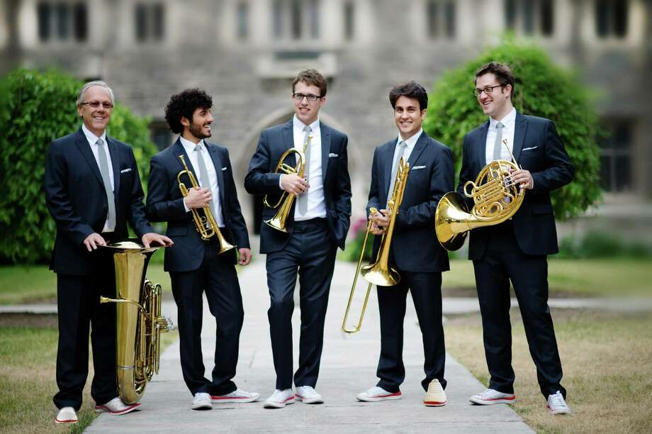 The Canadian Brass quintet includes, from left,  Chuck Daellenbach, Chris Coletti, Brandon Ridenour, Achilles Liarmakopoulos and Eric Reed. Photo: Courtesy Canadian Brass
