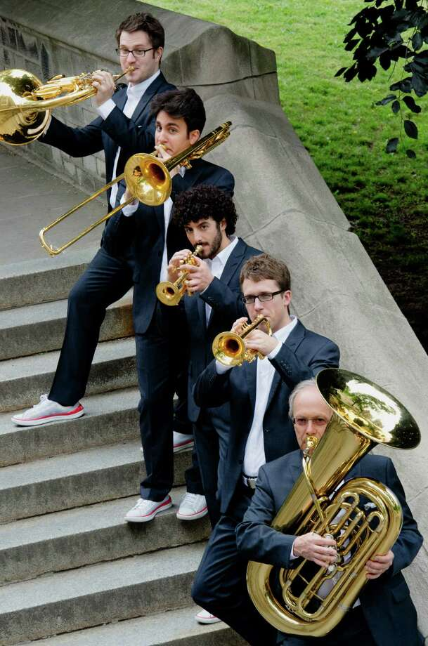 Canadian Brass quintet, from left, Eric Reed, Achilles Liarmakopoulos, Chris Coletti, Brandon Ridenour and Chuck Daellenbach. Photo: Courtesy Canadian Brass