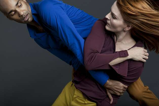 Dancers Darrell Jones and Angie Hauser of the Bebe Miller Company, Miller and dramaturge Talvin Wilks all live in different cities but have figured out a way to work together. Photo: Julieta Cervantes, Bebe Miller Company