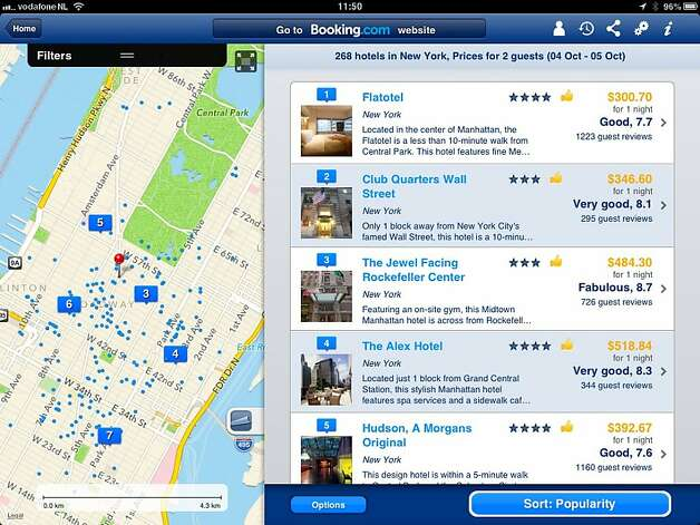 A screenshot of available hotels in midtown Manhattan as seen on Booking.com's iPad app. Photo: Booking.com