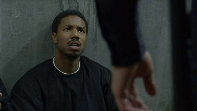 Fruitvale, 2013 Sundance Film Festival  Fruitvale: Oscar (portrayed by Michael B Jordan) looking at Caruso (portrayed by Kevin Durand)   Director: Ryan Coogler  Photo credit: Sundance Institute Photo: Sundance Institute